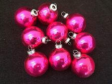 "10 Vintage Shiny PINK Glass Christmas Ornaments  2"" FEATHER TREE LOT ROUND BALL"