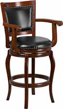 30'' High Cherry Wood Barstool with Black Leather Swivel Seat New