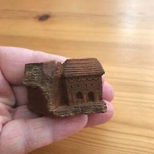 "2"" Tiny Miniature Carved Bark House Tree Wood / 2 Domed Doorways -2 Story"