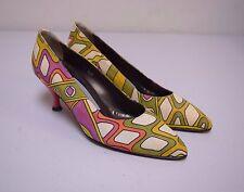 Vintage PANCALDI Bright Multi Colored Printed Linen Pumps Heels 6.5 M