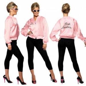 Ladies/Girl's Teen Pink  Jacket 1950's 60s Grease Fancy Dress Costume