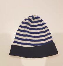 H&M Strickmütze blau weiß dunkelblau gestreift Beanie 134 152 Mütze Top