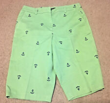 LADIES BRIGGS NEW YORK GREEN LONG LEG SHORTS WITH ANCHORS SIZE 10