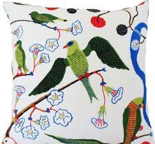 "Josef Frank Fabric Cushion Cover Green Birds Printed Linen Square 18x18"""