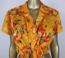 VINTAGE FLORAL BLOUSE TOP BUTTON DOWN SHIRT - BRIGHT YELLOW