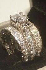 Princess cut Diamond Antique Engagement Ring Wedding Band Sterling White Gold 8