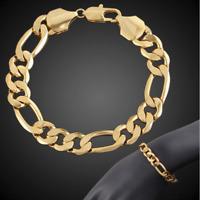 18k Gold Armkette 21cm 6MM dick Figarokette Armband Herren Damen vergoldet GA9