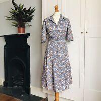 Vintage 70s Grey Orange Blue Brown Floral Print Zip Up Shirt Dress 14