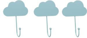 Set of 3 Wall Hooks Blue Cloud Design Kids/Babies Room Horizon Group USA