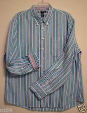 Duck Head Jeans Co XL Pink Blue Striped Button Long Sleeve Flip Cuff Shirt