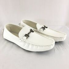 Bruno Homme Mens Loafers Faux Leather Slip On White Size 10.5