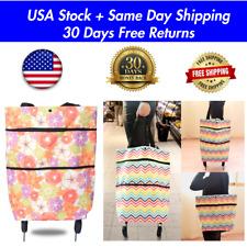 Reusable Canvas Folding Luggage Rolling Trolley Utility Shopping Bag Cart Basket