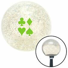 Grn Clubs Diamond Heart Spades Clear Metal Flake Shift Knob M16 x 1.5 Insert