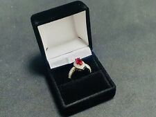 3ct Ruby And Topaz Sterling Silver Ring - Marquise Cut - Size L - 3.5grams