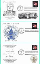 TRUMP-PENCE 2017 INAUGURATION COVER SET OF 3, FIREWORKS STAMP-PANDA COLOR CACHET