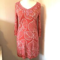 Boden Coral & White Leaf Print Tunic Dress Cover Up Beaded Neckline Size 12R