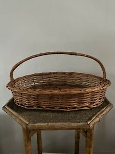 VINTAGE/ANTIQUE FRENCH FLOWER CADY - STURDY WICKER BASKET