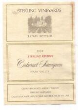 Original 1973 STERLING RESERVE Wine LABEL Cabernet Sauvignon Napa California