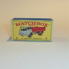 Matchbox Lesney  3 b Bedford Tipper Truck empty Repro E style Box