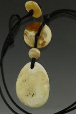 White Stones Genuine BALTIC AMBER UNISEX Pendant Amulet on String 9.7g 180103-2