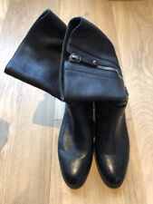GIANVITO ROSSI Flat Black Leather Motorcycle Boots EU 40 UK 7.5 8 US 9.5 10