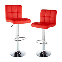 Set of 2 Bar Stools Counter Height Adjustable Swivel Pub Chair Pu Leather Red