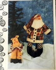 RAGGEDY SANTA & REINDEER Primitive Doll Pattern Christmas Craft Decoration