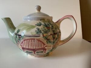 """Brand new Ceramic Teapot & Lid Hand Painted Gardenscape 5 Cup 7"""" Tall x 11"""" L"""