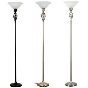 Traditional Floor Lamp Barley Twist 176cm Standard with Glass Shade Home Light