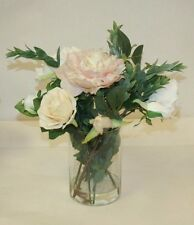 Floral Arrangement, Artificial Flowers,Home Decor, Roses and pion in glass vase