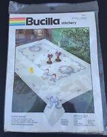 Bucilla Country Wreath Stamped Cross Stitch 4 Napkins Kit #400571 NEW