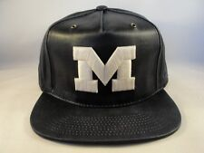 Michigan Wolverines Ncaa Zephyr Weathered Faux Leather Strapback Cap Hat