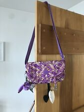 Kipling Jungle Print Purple Cross Body Shoulder Bag with Maddie Keychain