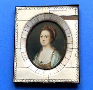 BEAUTIFUL 19th Century Miniature Portrait YOUNG WOMAN Signed M. Hall European