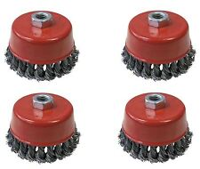4Pc 100mm Twist Knot  Wire Wheel Cup Brush Set Kit For 115mm Angle Grinder