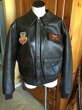 Branded Orchard Brown Flight US Air Force Bomber Leather Goat Jacket 44R 💎 Nice