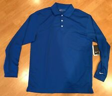 NWT Nike Golf Dri-Fit  Blue Long Sleeve Polo Shirt Men's Sz M Medium