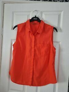Ladys Orange Short Sleeved Linen Blouse  Top Size 14