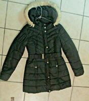 GUESS Women's Layered Black Full Zip Belted Hooded Puffer Jacket Parkas Size XL