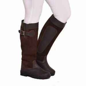 Ladies Country Boots Outdoor Walking Riding Pull On Suede Leather Anti Slip Sole