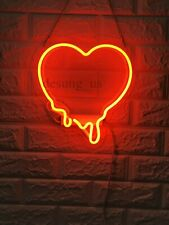 """New Melting Heart Neon Light Sign 14"""" Lamp Beer Pub Acrylic Real Glass Gift"""