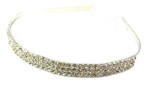3 Row Silver Crystal Diamante Headband Tiara Bridesmaid Bridal Alice Hair Band