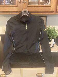women's Black Nike Pro Running 3/4 Zip Pullover In S