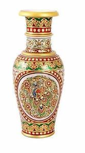Handmade Decorative Peacock Painting Gold Embossed Flower Vase