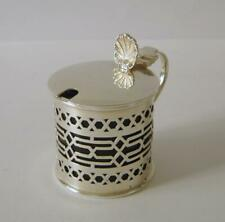 An Ornate Antique Sterling Silver Mustard Pot Chester 1905 Haseler Brothers