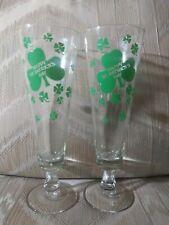 Set Of 2 Happy St Patricks Day Champagne Glasses Flutes St Paddy Shamrock Green