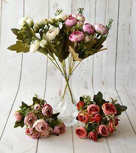 Artificial Flower Ranunculus Bunch x 5 stems vase bouquet display