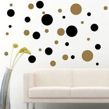 Set Of 56 Black / Gold Polka Dots Circle Wall Decal Vinyl Sticker Wall DIY Patte