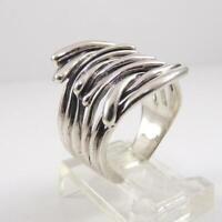 Hagit Gorali Isreal Sterling Silver Multi Band Modernist Ring Size 7.5 LFJ3