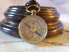 POCKET WATCH CHAIN COMPASS FOB VINTAGE 1930s GERMAN CHUNKY BRASS DRUM CASE